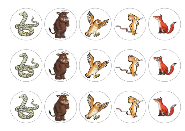 15 printed cupcake toppers of the Gruffalo and Friends