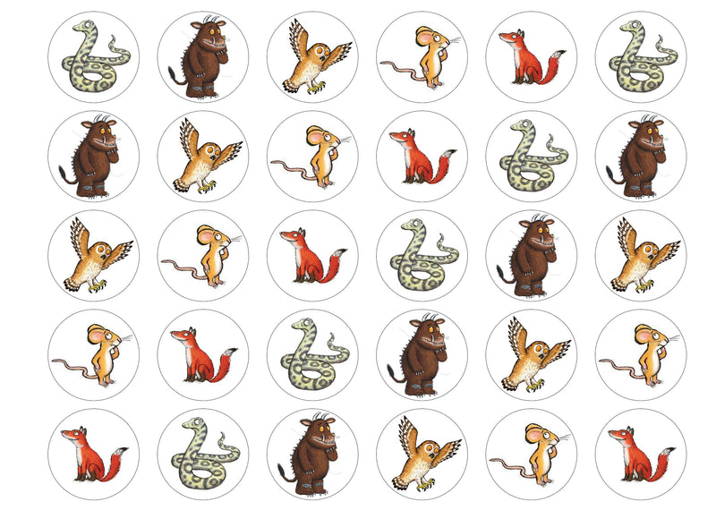 30 edible cupcake toppers of the Gruffalo and Friends