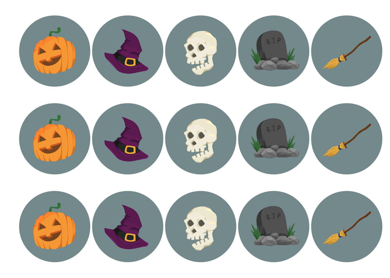 15 printed cupcake toppers with grey halloween icons