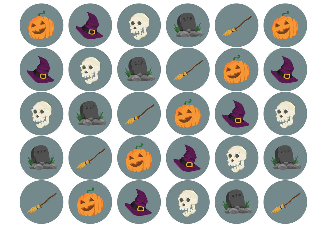30 edible printed cupcake toppers with grey halloween designs
