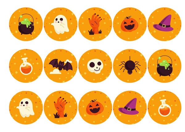 15 printed cupcake toppers with orange halloween icons