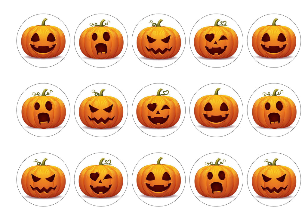 15 printed cupcake toppers with halloween pumpkin images