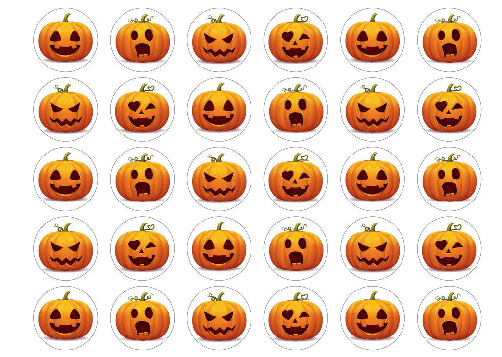 30 edible printed cupcake toppers with halloween pumpkin faces