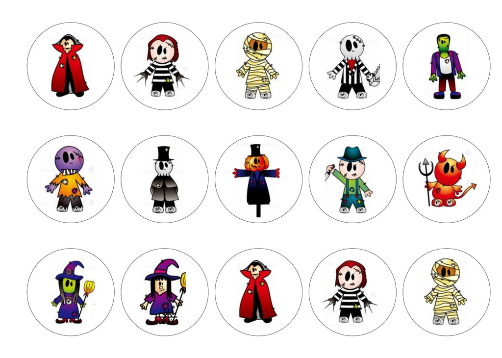 Printed edible cupcake toppers with cute halloween images