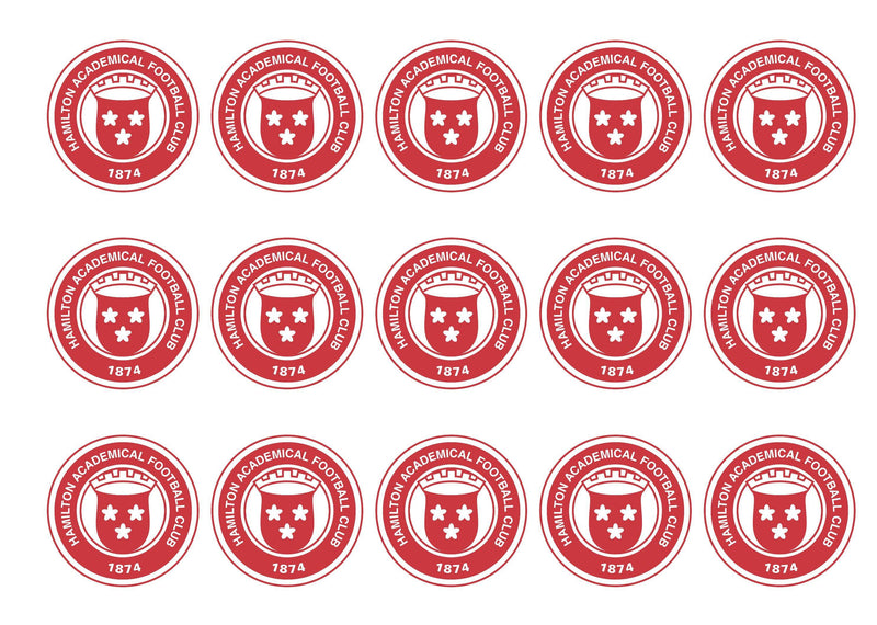 15 printed cupcake toppers with the Hamilton Accies FC badge