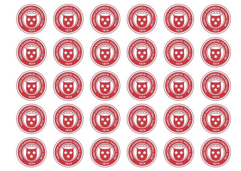 30 edible cupcake toppers with the Hamilton Accies FC badge