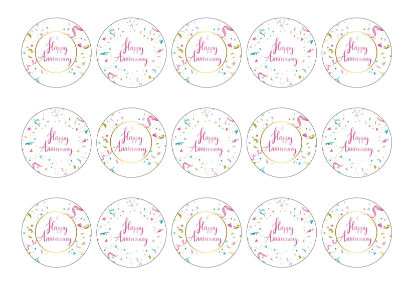 15 printed toppers suitable for an anniversary of any kind