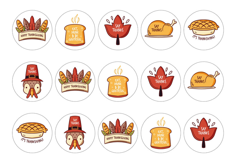15 printed toppers to say thanks for Thanksgiving