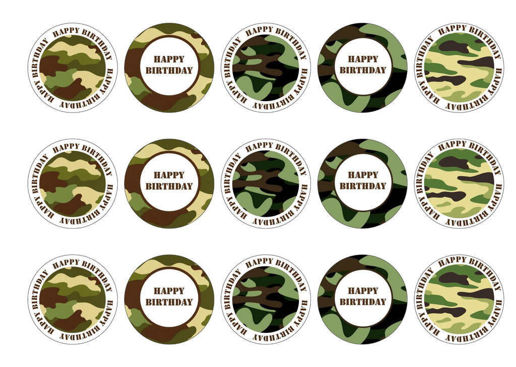 Printed edible birthday cupcake toppers with camouflage design