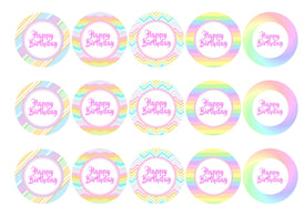 Printed edible cupcake toppers with rainbow pastel colours