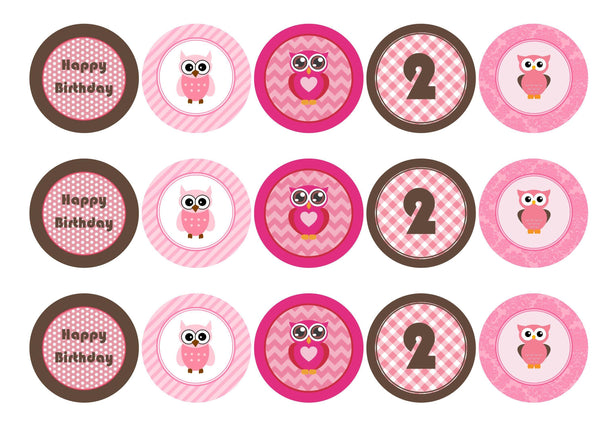Printed edible cupcake toppers with pink owls