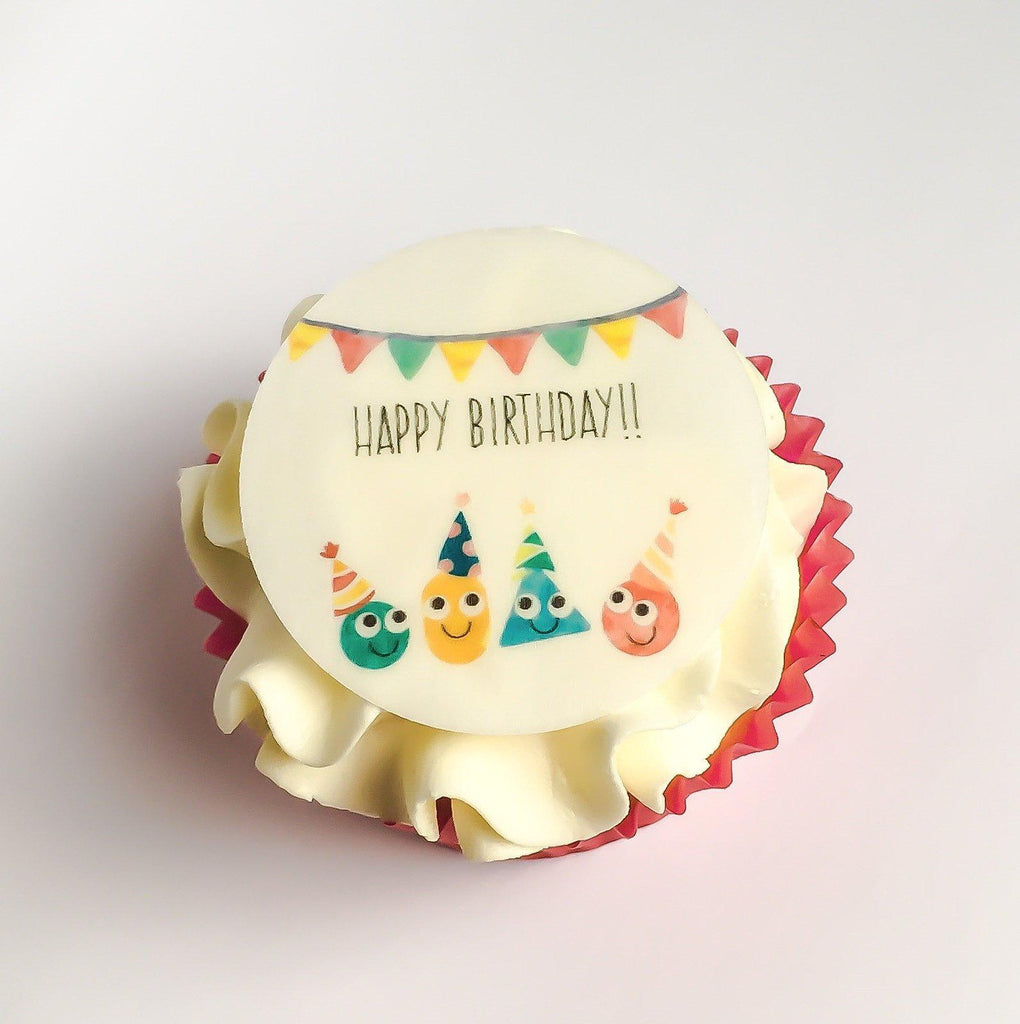 Cute happy birthday cupcake toppers