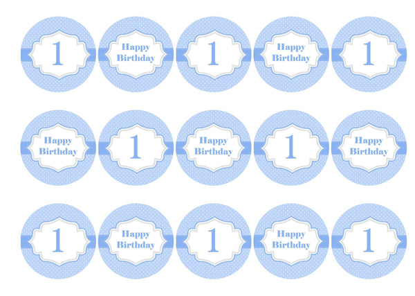 Printed cupcake toppers for a first birthday - blue for a boy