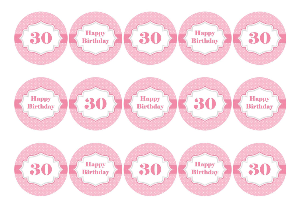 Printed edible cake toppers with images for a ladies 30th birthday