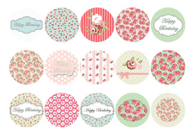 15 printed cupcake toppers with happy birthday designs