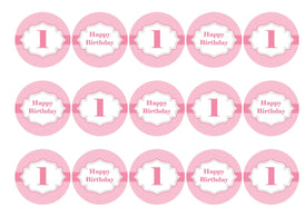 Printed cupcake toppers for a first birthday - pink
