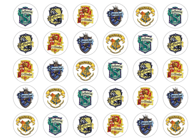 30 edible cupcake toppers with school badges from Harrry Potter Hogwarts
