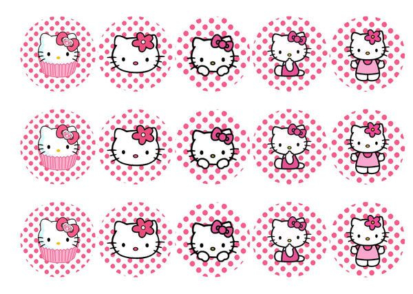 Edible printed cupcake toppers with Hello Kitty