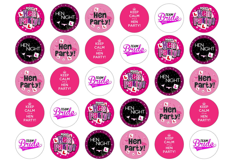 30 printed cupcake toppers to celebrate a hen party
