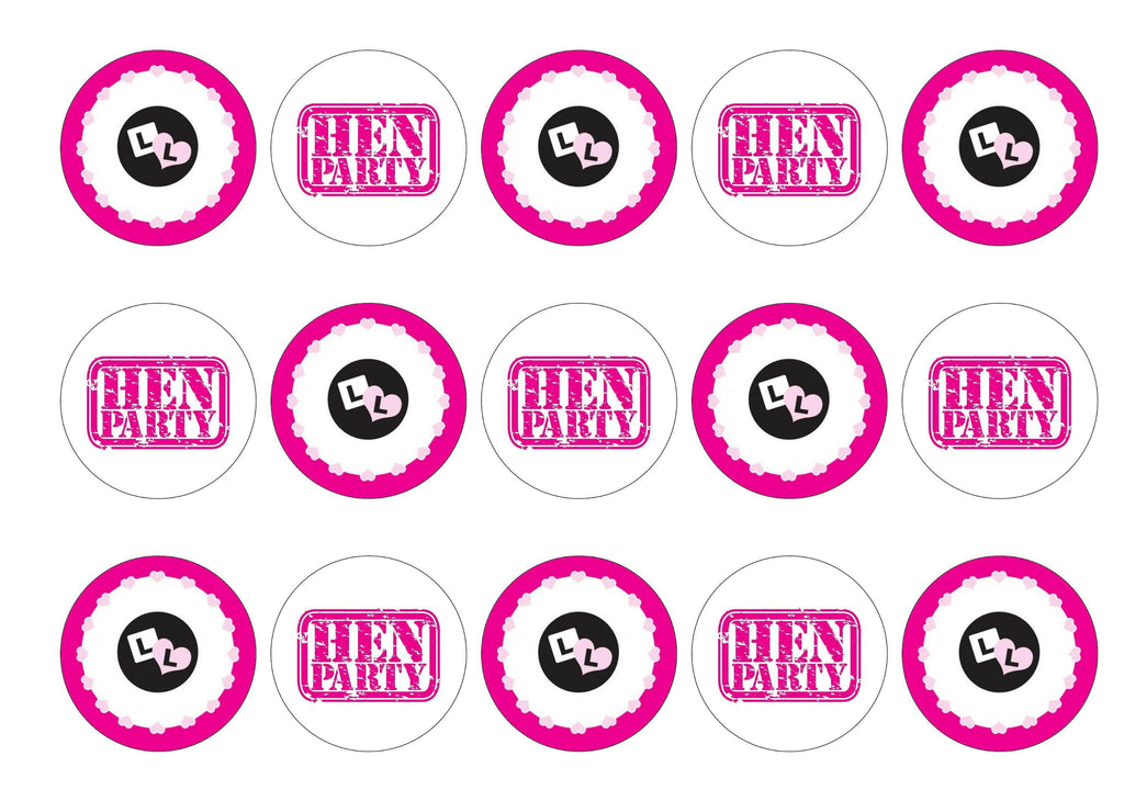 Printed edible cupcake toppers with hen party L Plate design