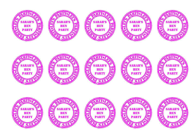 Printed edible cupcake toppers with hen party stamp design