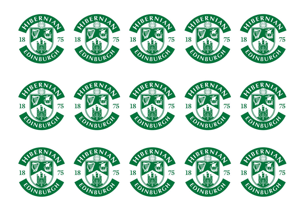 15 printed cupcake toppers with the Hibs badge