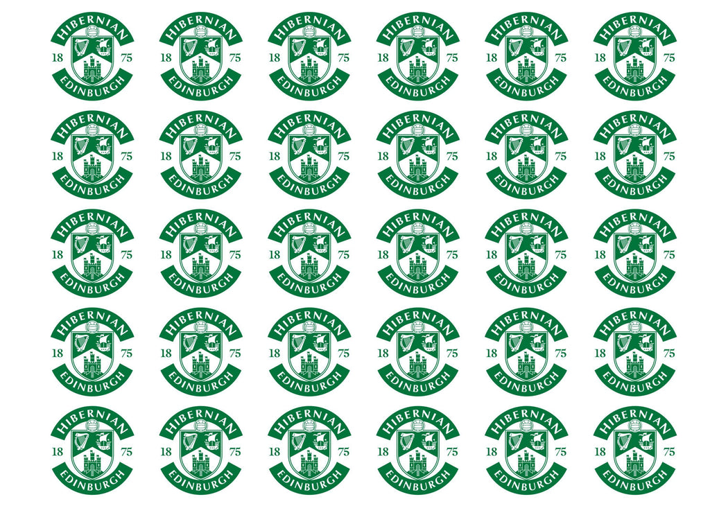 30 edible cupcake toppers with the Hibs badge