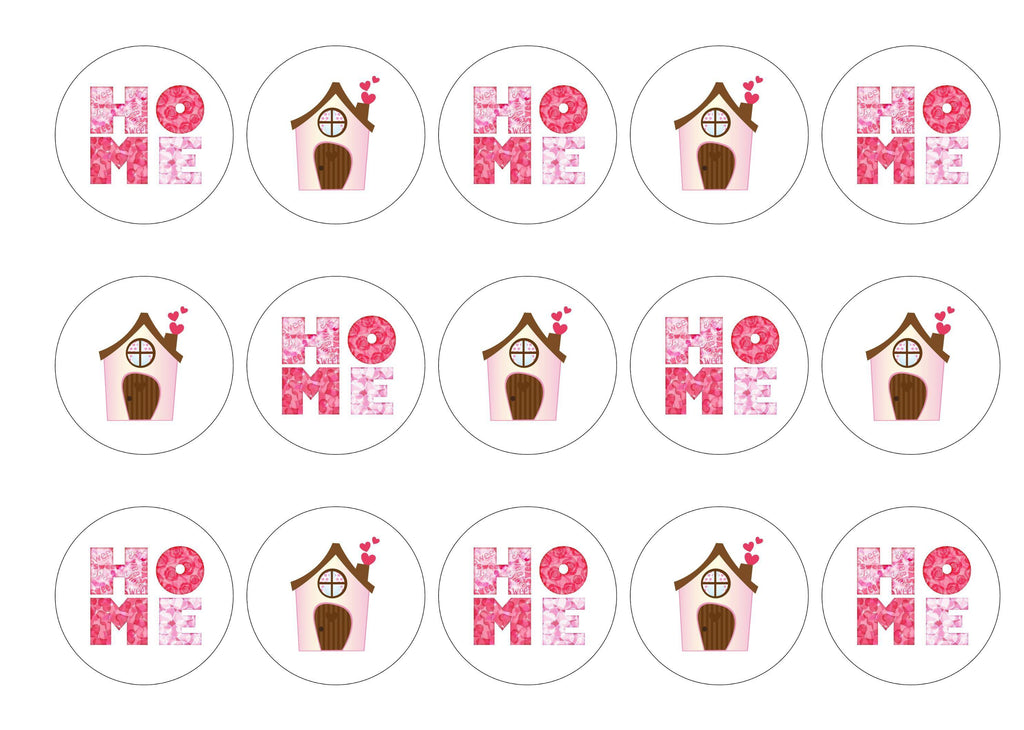 Edible paper cupcake toppers for house warming