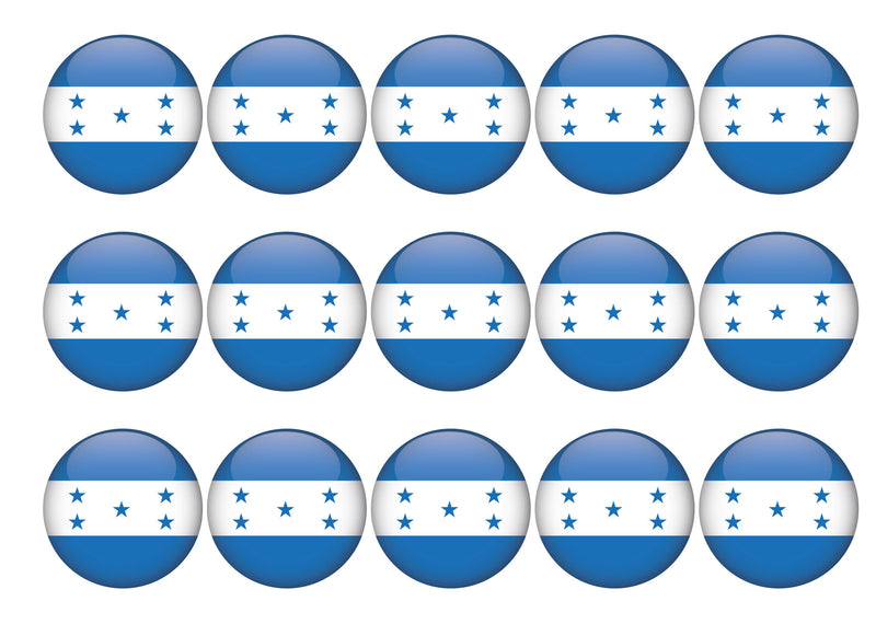 15 cupcake toppers with the flag of Honduras