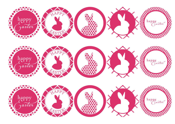 15 printed cupcake toppers with easter bunny designs in hot pink