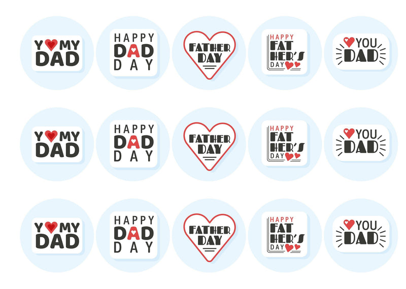 15 printed toppers with retro I heart dad designs