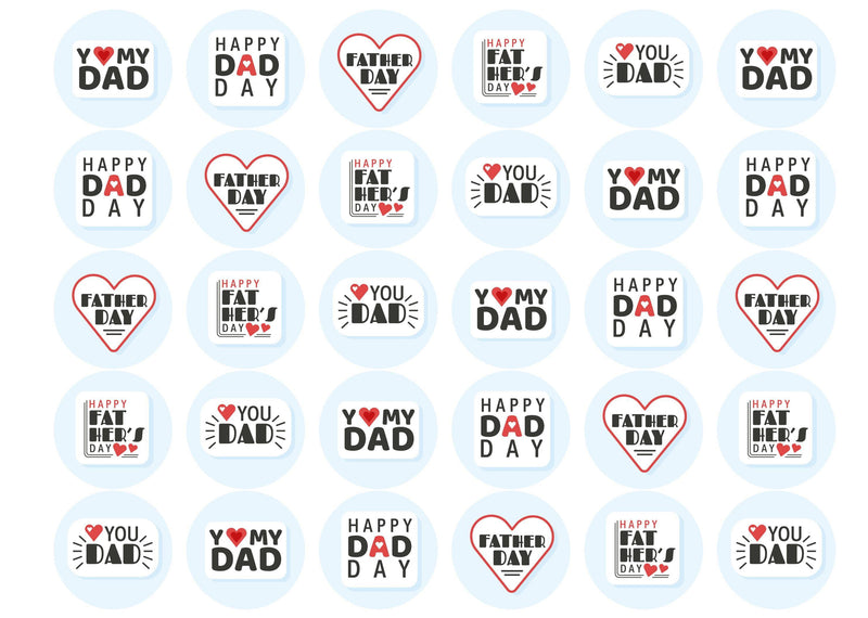 30 edible toppers with retro I heart dad designs