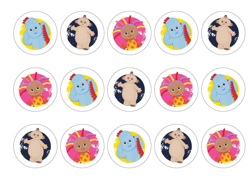 Printed edible cupcake toppers with In the Night Garden images