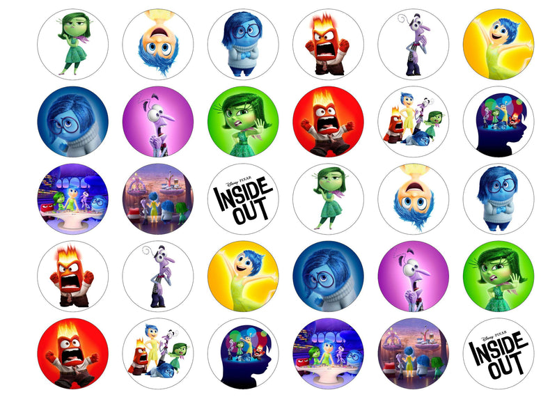 30 edible cupcake toppers with images from Inside Out