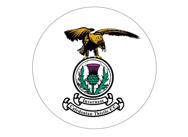 Large 190mm cake topper with the Inverness Caledonian Thistle FC badge