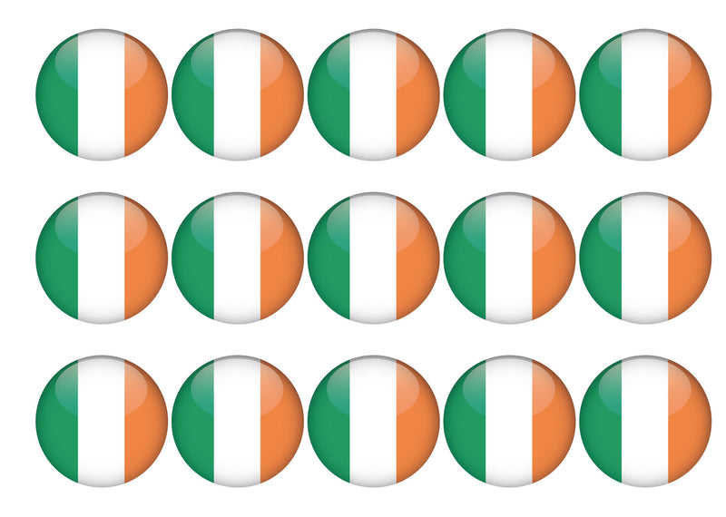 15 cupcake toppers with the Ireland flag
