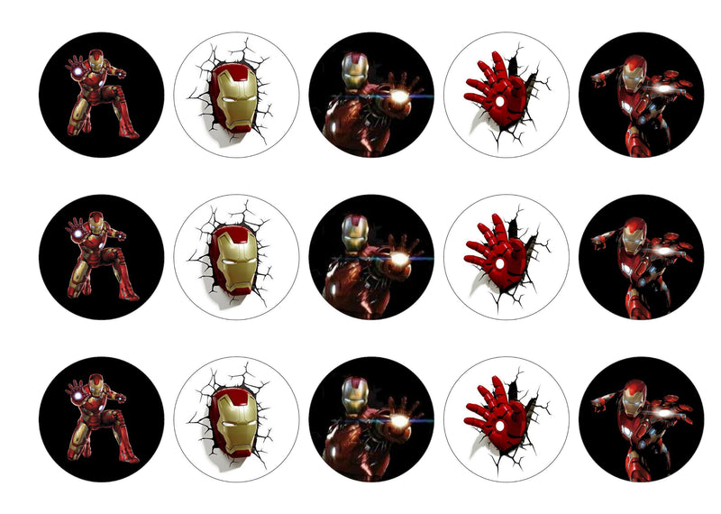 Printed edible cupcake toppers with images of Ironman