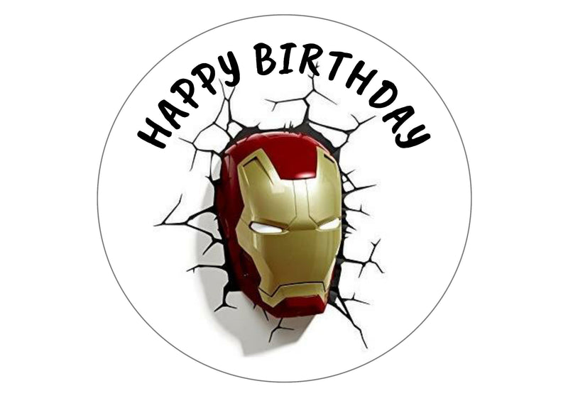 Printed edible cake topper with image of Ironman