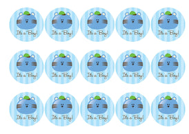 Printed cupcake toppers for baby boy