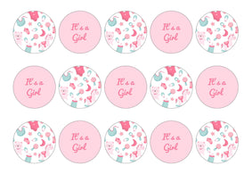 15 cake toppers with it's a girl baby designs
