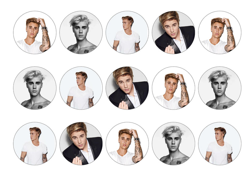 Printed edible cupcake toppers with images of Justin Bieber