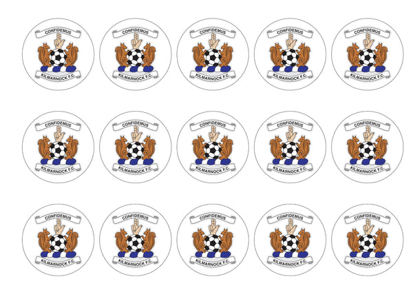 Printed cupcake toppers featuring the Kilmarnock FC Badge