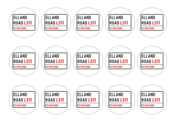 15 printed cake toppers with the Leeds Football Club Street Sign design for Elland Road