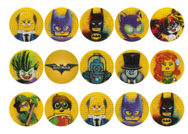 Printed cupcake toppers with images from The Lego Batman Movie