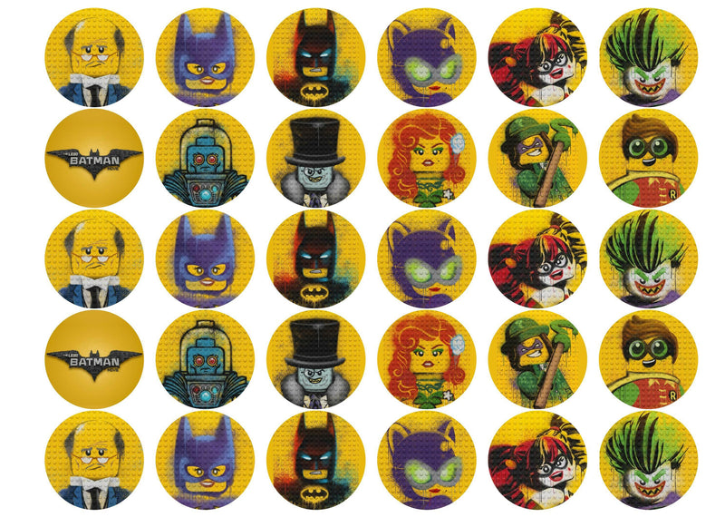 Edible cupcake toppers with images from The Lego Batman Movie