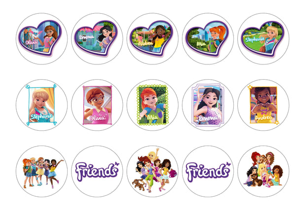 15 printed cupcake toppers with the Lego Friends