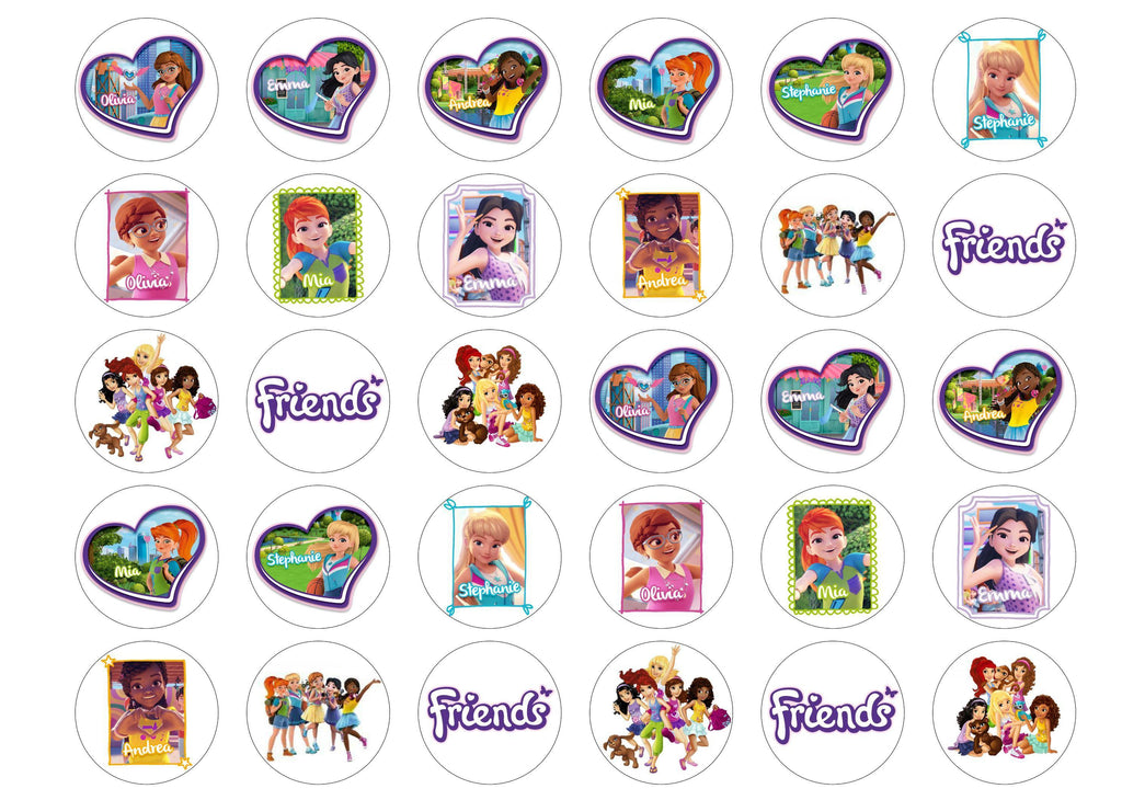 30 edible cupcake toppers with pictures of the Lego Friends