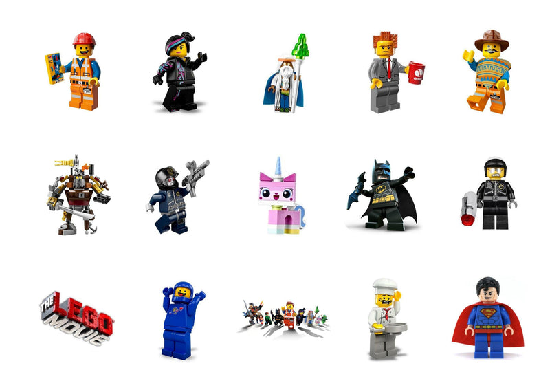 Printed cupcake toppers with images from The Lego Movie