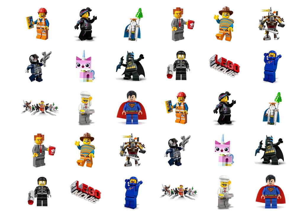 Edible cupcake toppers with images from The Lego Movie