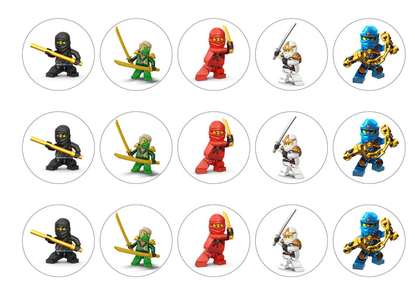 15 printed cupcake toppers with images from Lego Ninjago